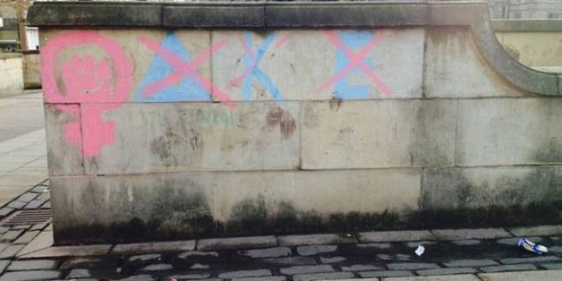 Graffiti of the fraternity's Greek letters has also appeared intermittently in various public places