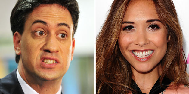 Undated file photos of (left to right) Ed Miliband and Myleene Klass, as Mr Miliband has found himself coming under attack from yet another unexpected quarter.