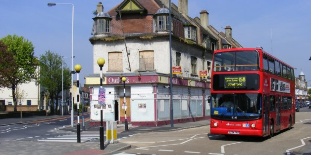 High Road and Grange Park Road, E10.  Need to research this time-called building.  Since demolished, bus since transferred to BW Bow garage
