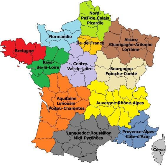 carte 13 regions noms