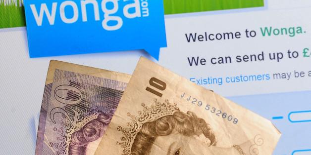 General view of the logo of money lending website Wonga.