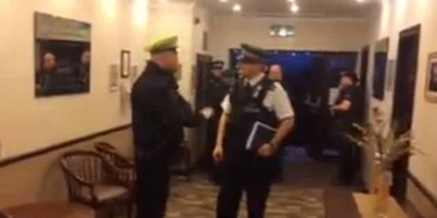A still from the video of the Britain First conference
