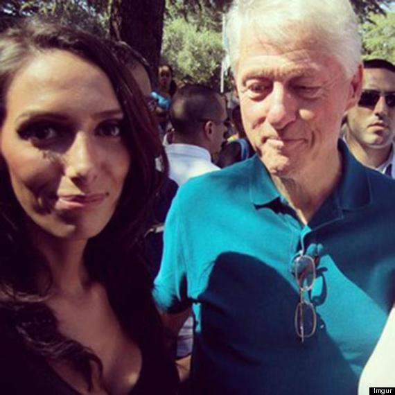 clinton staring at boobs