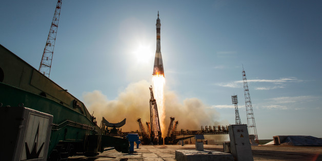 The Soyuz TMA-04M rocket launches from the Baikonur Cosmodrome in Kazakhstan on Tuesday, May 15, 2012 carrying Expedition 31 Soyuz Commander Gennady Padalka, NASA Flight Engineer Joseph Acaba and Flight Engineer Sergei Revin to the International Space Station.  Photo Credit: (NASA/Bill Ingalls)