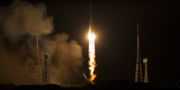 The Soyuz-FG rocket booster with Soyuz TMA-15M space ship carrying a new crew to the International Space Station, ISS, blasts off at the Russian leased Baikonur cosmodrome, Kazakhstan, Monday, Nov. 24, 2014. The Russian rocket carries U.S. astronaut Terry Virts, Russian cosmonaut Anton Shkaplerov and Italian astronaut Samantha Cristoforetti. (AP Photo/NASA, Aubrey Gemignani)