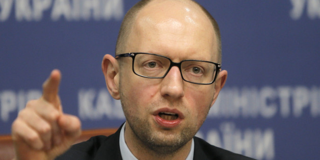 Ukrainian Prime Minister Arseniy Yatsenyuk speaks to media during his press conference in Kiev, Ukraine, Thursday, Nov. 20, 2014. (AP Photo/Efrem Lukatsky)