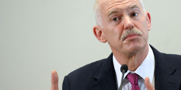 Socialist leader and former Greek Prime minister George Papandreou takes part in a debate about the Greek crisis, in Strasbourg, eastern France, on March 16, 2012.  AFP PHOTO / PATRICK HERTZOG (Photo credit should read PATRICK HERTZOG/AFP/Getty Images)