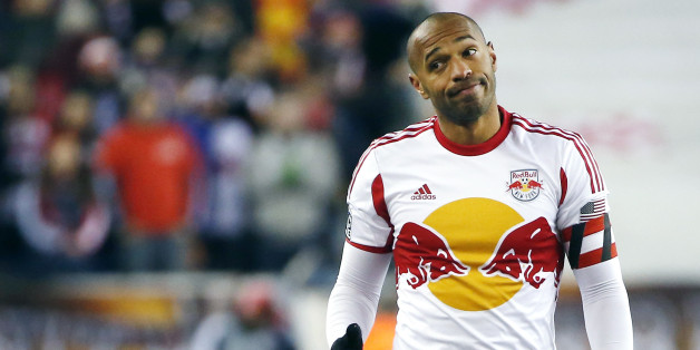 New York Red Bulls forward Thierry Henry gestures during the second half of the second soccer game of the MLS Eastern Conference final in Foxborough, Mass., Saturday, Nov. 29, 2014. The match ended 2-2 and New England advanced with a two-game aggregate 4-3. (AP Photo/Elise Amendola)