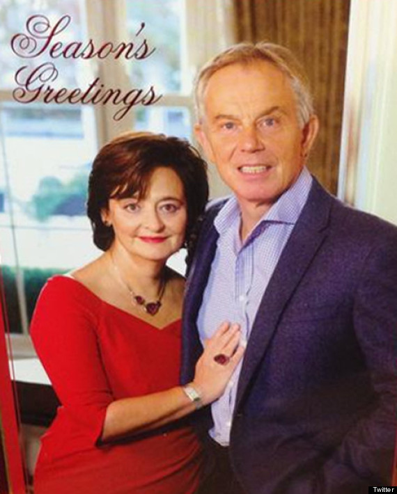 tony blair cheri christmas card