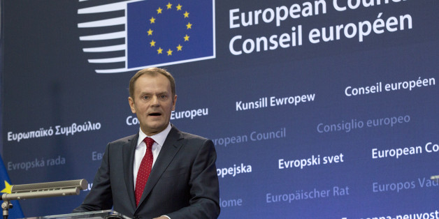 Incoming European Council President Donald Tusk speaks during a handover ceremony for the European Council Presidency at the EU Council building in Brussels on Monday, Dec. 1, 2014. Poland's former prime minister Donald Tusk is pushing the EU's center of political gravity eastward by taking over the EU Presidency from Belgium's Herman Van Rompuy. Monday's transition ceremony highlighted the increasing power of Poland within the 28-nation EU and further shift from a west European economic association to a strong political body uniting some 500 million people from Britain to the borders of Russia in the east. (AP Photo/Virginia Mayo)