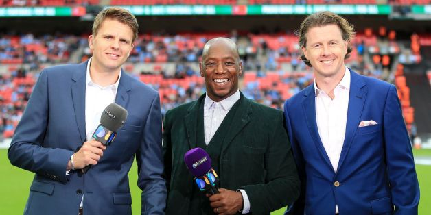 BT Sport presenters Jake Humphrey (left), Ian Wright (centre) and Steve McManaman during the Community Shield match at Wembley Stadium, London.