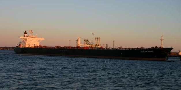 """Avalon Spirit"" oil tanker docked at South Portland, Maine."