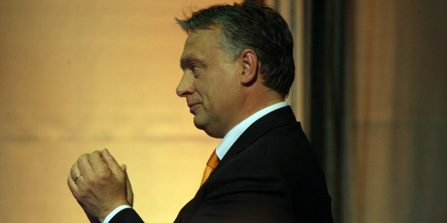 Hungarian Prime Minister Viktor Orban delivers his victory speech at the election party of the governing FIDESZ party in Budapest on May 25, 2015, during the night of European Parliamental elections. AFP PHOTO / FERENC ISZA        (Photo credit should read FERENC ISZA/AFP/Getty Images)