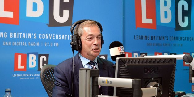 Nigel Farage on the LBC Radio phone-in show, in the studios, in central London.