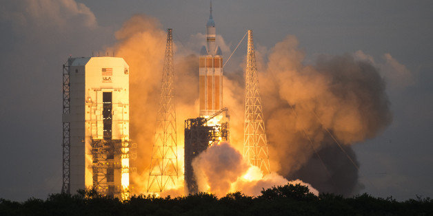 CAPE CANAVERAL , FL - December 5: The space craft Orion lifts off from the launch pad at Space Launch Complex 37 on Friday, December 5, 2014 at the Cape Canaveral Air Force Station in Cape Canaveral, Florida. Orion fitted with United Launch Alliance's Delta IV Heavy rocket traveled into space to orbit Earth twice before returning into the Pacific Ocean near the coast of San Diego.  (Photo By Brent Lewis/The Denver Post via Getty Images)