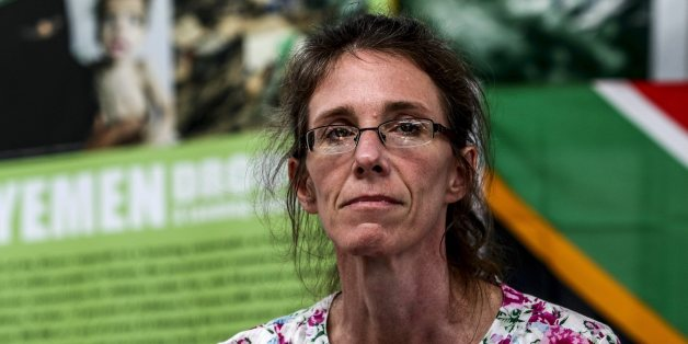 JOHANNESBURG, SOUTH AFRICA - JANUARY 16 (SOUTH AFRICA OUT): Yolande Korkie during a press conference on January 16, 2014, in Johannesburg, South Africa. Korkie and her husband, Pierre, were taken hostage by al-Qaeda in Yemen, in May 2013. Yolande was released on January 10, 2014. Her captors gave her until January 17, 2014, to present R32 million to them for Pierre's release - otherwise they would behead him. Yolande pleaded with al-Qaeda to release Pierre so that they could renew their wedding cows this year. (Photo by Simphiwe Nkwali/Sunday Times/Gallo Images/Getty Images)