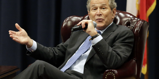 """Former President George W. Bush discusses his new book """"41: A Portrait of My Father"""" at his father's George H.W. Bush Presidential Library, Tuesday, Nov. 11, 2014, in College Station, Texas. (AP Photo/Pat Sullivan)"""