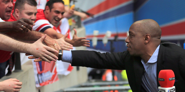 BT Sport presenter and Ex-Arsenal player Ian Wright connects with fans prior to kick-off