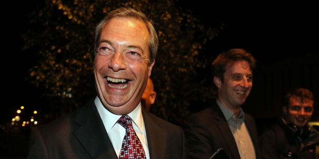 REVIEW OF THE YEAR PICS 2014 File photo dated 10/10/14 of Ukip leader Nigel Farage arriving at Clacton town hall in Essex for the count of votes in the Clacton constituency parliamentary by-election.