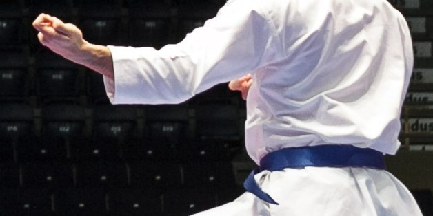 Damian Quintero of Spain in action during the finals of the men's Kata, at the Karate European Championship, Saturday May 3, 2014 in Tampere, Finland. (AP Photo/TT News Agency, Aleksi Tuomola) FINLAND OUT