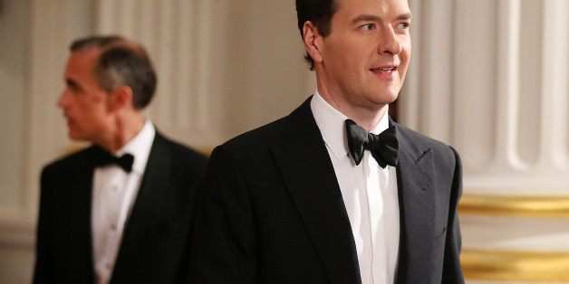 Chancellor of the Exchequer George Osborne is followed by Mark Carney, Governor of the Bank of England, as they enter the Lord Mayor's Dinner to the Bankers and Merchants of the City of London at Mansion House, central London.
