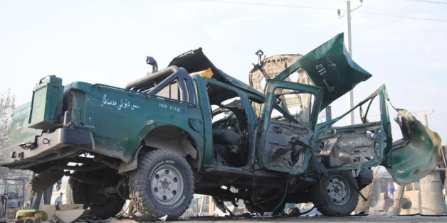 NANGARHAR, AFGHANISTAN - DECEMBER 17: At least two police died and 6 others injured in two different bombing attacks on police vehicles in Nangarhar, Afghanistan on December 17, 2014. (Photo by Ziar Khan Yaad/Anadolu Agency/Getty Images)