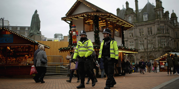 BIRMINGHAM, ENGLAND - DECEMBER 09:  Officers from West Midlands police force patrol the streets of Birmingham during a security threat on December 9, 2014 in Birmingham, England. Officers of West Midlands Police continued their patrols as an alleged threat to kidnap and kill an officer was reported anonymously. The overall threat level to police across Britain was raised to substantial in October.  (Photo by Christopher Furlong/Getty Images)