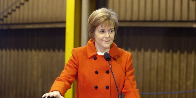 First Minister Nicola Sturgeon marks the start of construction of a hybrid ferry at Ferguson Marine Engineering in Port Glasgow.