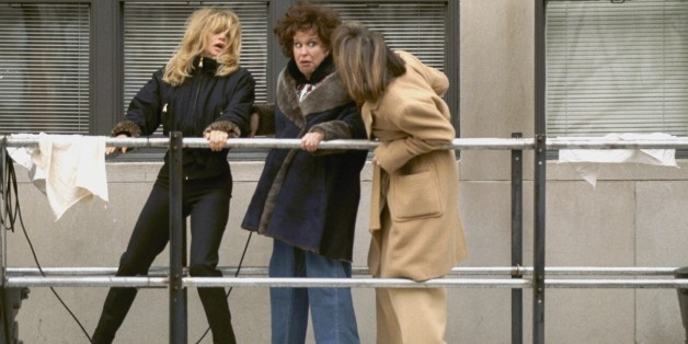 UNITED STATES - JANUARY 16:  Goldie Hawn, Bette Midler and Diane Keaton (l. to r.) hang onto a building scaffold as they film the movie 'First Wives Club' at Fifth Ave. and 87th St.,  (Photo by Richard Corkery/NY Daily News Archive via Getty Images)