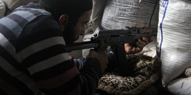 ALEPPO, SYRIA - DECEMBER 30: Damascus Front forces deploy around the Citadel of Aleppo during the clashes against regime forces in Aleppo, Syria, on December 30, 2014. Damascus Front members arrive at depot of Assad forces by the way of tunnel and at least 15 regime forces killed. (Photo by Mustafa Sultan/Anadolu Agency/Getty Images)