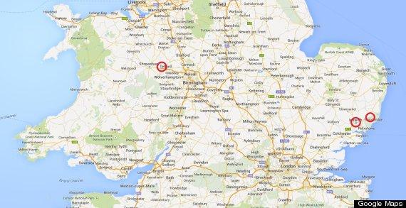drugs death locations telford ipswich rendlesham