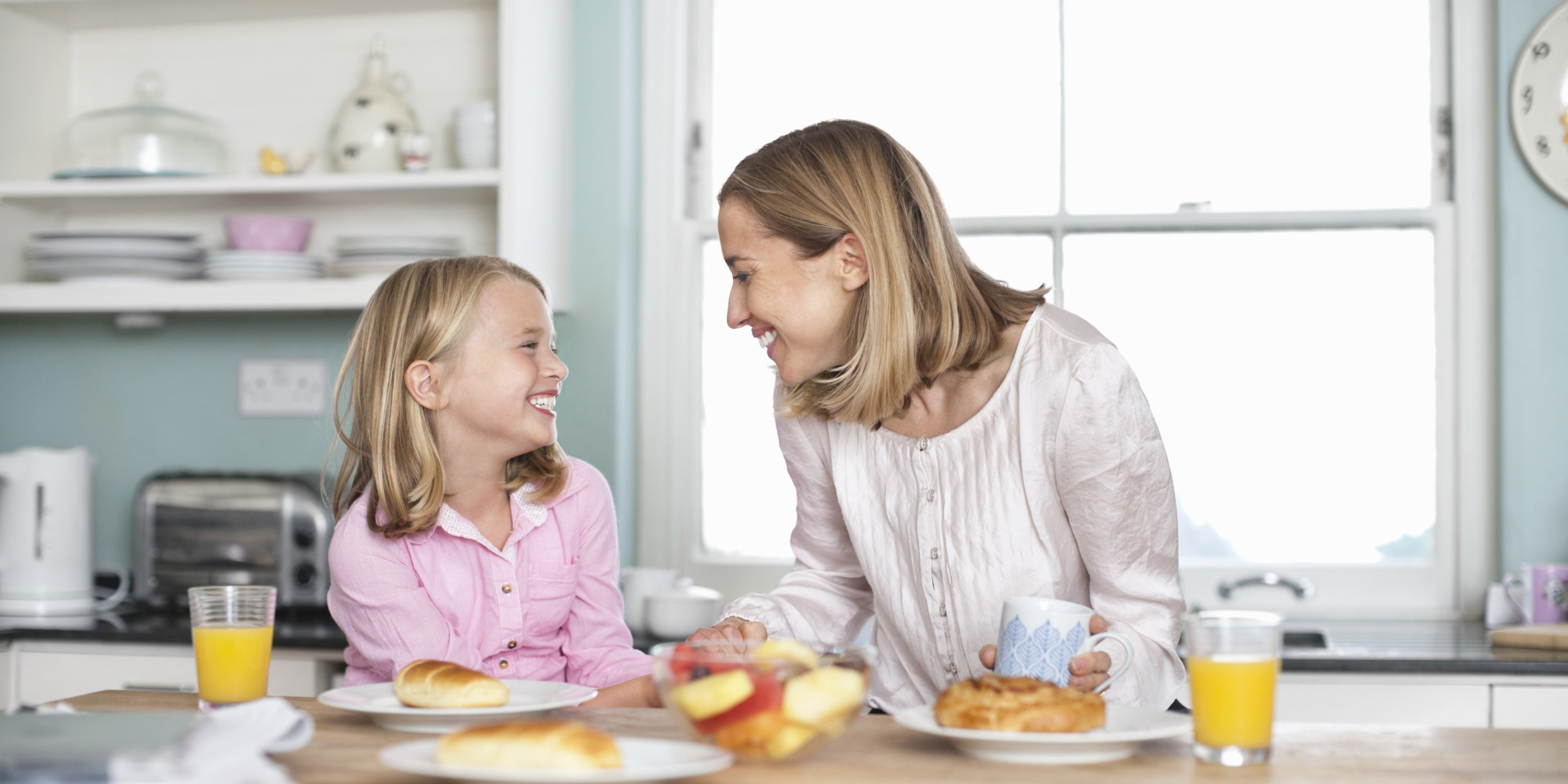 breakfast parents child mother having daughter talking kid things questions give working parent children happy happier them themselves ask happiness