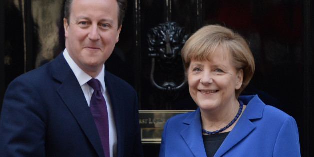 File photo dated 27/2/2014 of David Cameron welcomes Angela Merkel to 10 Downing Street in London. The Prime Minister will seek to bolster support for his bid to renegotiate Britain's membership of the European Union (EU) after May's general election in talks with the German Chancellor at Downing Street.