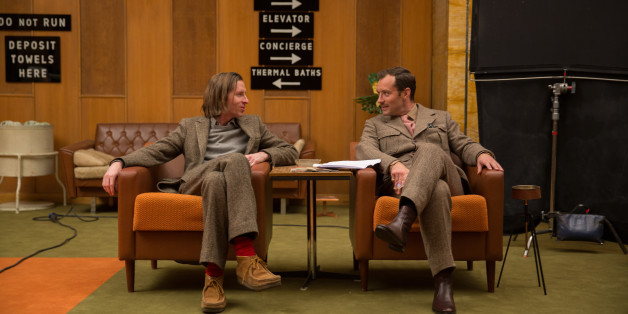 """This image released by Fox Searchlight shows director Wes Anderson, left, with Jude Law on the set of """"The Grand Budapest Hotel ."""" (AP Photo/Fox Searchlight, Martin Scali)"""