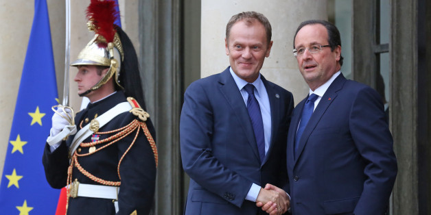 French President Francois Hollande, right, greets Poland's prime minister Donald Tusk, prior to their meeting at the Elysee Palace in Paris, Tuesday Nov. 12, 2013. European leaders are meeting Tuesday in Paris to talk about youth unemployment. They are tackling the subject for at least the fourth time in six months, but the jobless rate has only continued a slow rise.(AP Photo/Remy de la Mauviniere)