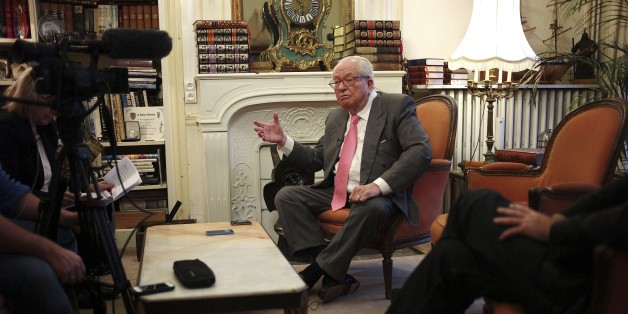 This photo dated Monday Dec. 1, 2014, shows French far-right Front National former leader Jean Marie Le Pen during an interview with Associated Press, in Saint Cloud, west of Paris, Monday, Dec. 1, 2014.  The 86-year old Jean-Marie Le Pen, now honorary president of the party led by his daughter Marine Le Pen, displays a unified front for the party, but Jean-Marie Le Pen is rankled over the prospect that the party may change its name and other issues need settling before Maine can aim for her dream job as president of France in 2017.  (AP Photo/Thibault Camus)