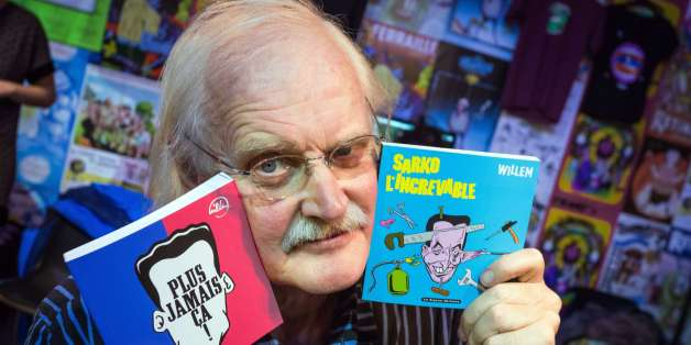 RESTRICTED TO EDITORIAL USE, MANDATORY MENTION OF THE ARTIST UPON PUBLICATION, TO ILLUSTRATE THE EVENT AS SPECIFIED IN THE CAPTIONPresident of the 41st edition of the 'Festival international de la bande dessinee' (International Comic Book Festival), Dutch comic book author Bernard Willem Holtrop, aka Willem, poses with two of his books during the festival in Angouleme, central France, on January 31, 2014. Willem won the Grand Prize of the City of Angouleme during the festival's 40th edition in 2