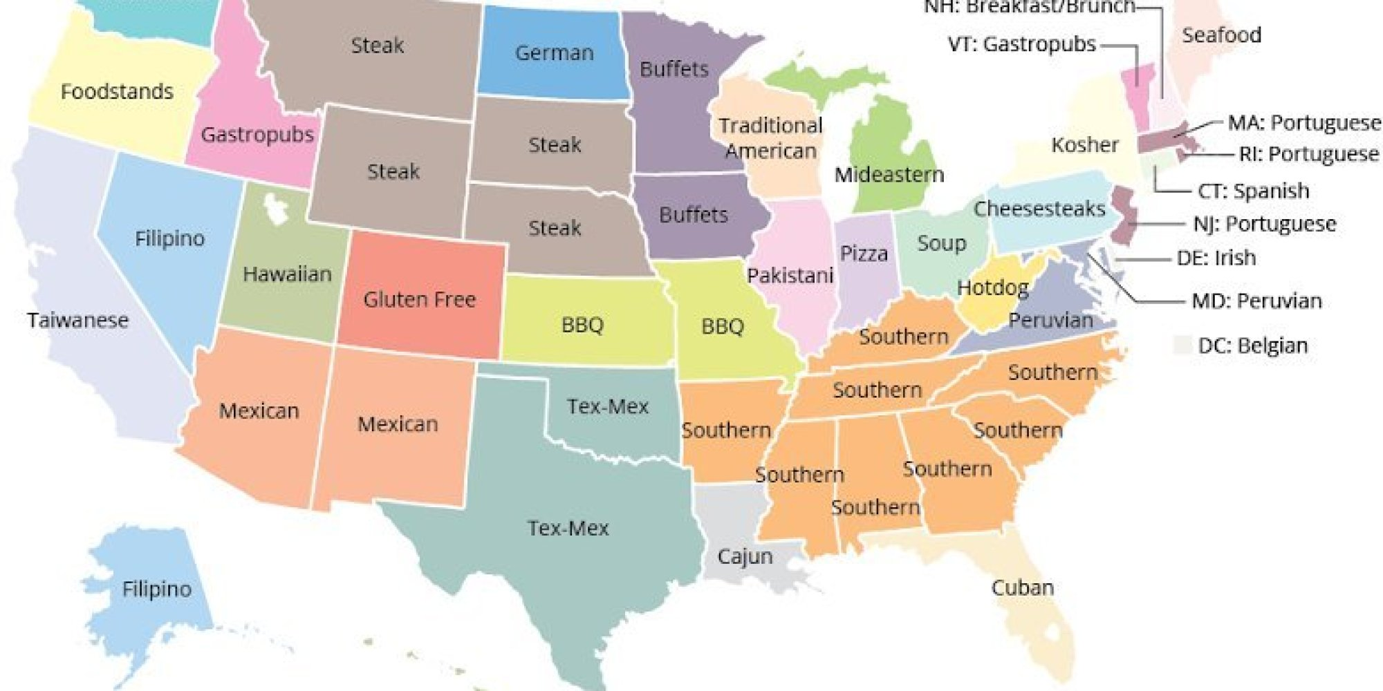 Here Is The Most Disproportionately Popular Cuisine In Each State - Washington state us map