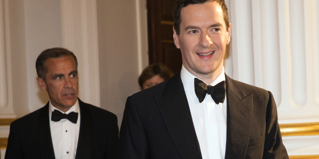 George Osborne, U.K. chancellor of the exchequer, right, and Mark Carney, governor of the Bank of England, arrive to attend the annual Bankers and Merchants dinner at Mansion House in London, U.K., on Thursday, June 12, 2014. Sterling advanced to the strongest level in 18 months against Europe's common currency as a gauge of U.K. house prices unexpectedly increased in May. Photographer: Simon Dawson/Bloomberg via Getty Images