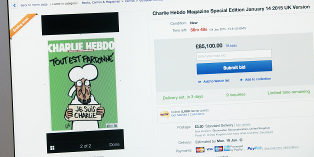 LONDON, UNSPECIFIED - JANUARY 14:  The first edition of Charlie Hebdo magazine since last weeks attack on the magazines office in Paris is pictured on sale on eBay on January 14, 2015 in London, England. The magazine, featuring a picture of the Prophet Muhammad on its cover, is yet to go on sale in newsagents in the UK but is already being sold online where it is fetching hundreds of pounds.  (Photo by Carl Court/Getty Images)