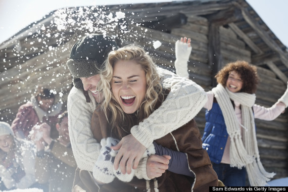 laughing in snow
