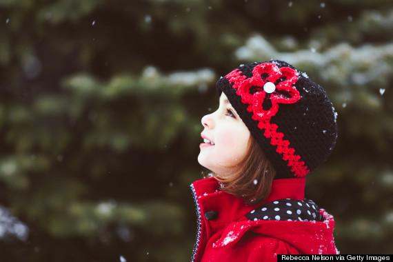 happy kid in snow