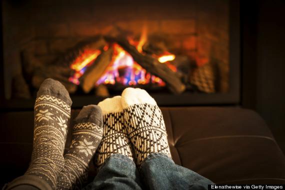 fireplace cuddling winter