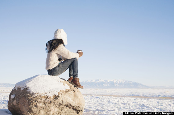 looking at snow