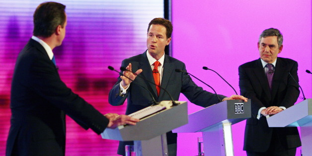 British opposition Conservative party leader, David Cameron (L), opposition Liberal Democrat leader, Nick Clegg (C), and Prime Minister, and leader of the ruling Labour Party, Gordon Brown (R), participate in the final of three live televised debates, at the University of Birmingham, in Birmingham, central England on April 29, 2010.  Britain's main party leaders squared up for the final pre-election TV debate Thursday.   AFP PHOTO/Gareth Fuller/Pool (Photo credit should read GARETH FULLER/AFP/Ge