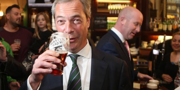 """File photo dated 26/05/14 of Ukip leader Nigel Farage, who has given up beer for January, admitting """"I need a break"""" from drinking."""
