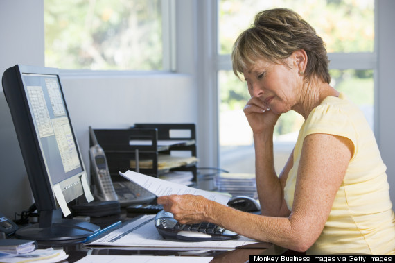 old woman at desk office