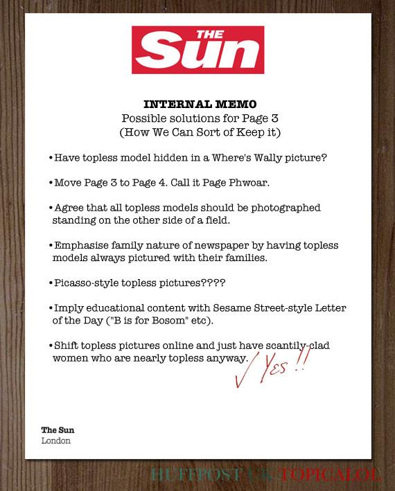 sun page three spoof memo