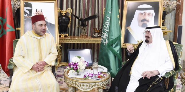Le roi Mohammed VI et le roi Abdallah d'Arabie saoudite
