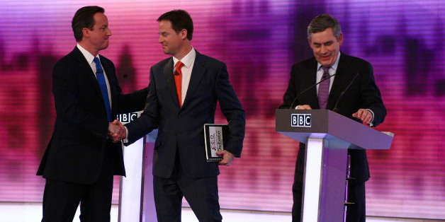 British opposition Conservative party leader, David Cameron (L), shakes hands with opposition Liberal Democrat leader, Nick Clegg (C), and Prime Minister, and leader of the ruling Labour Party, Gordon Brown (R), at the end of the live televised debate, at the University of Birmingham, in Birmingham, central England on April 29, 2010.  Britain's main party leaders squared up for the final pre-election TV debate Thursday.   AFP PHOTO/Gareth Fuller/Pool (Photo credit should read GARETH FULLER/AFP/Getty Images)
